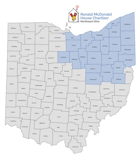 map of 23 Ohio counties served by RMHC NEO